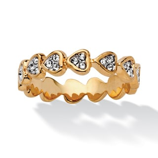 Round Crystal 14k Yellow Gold-Plated Band of Hearts Ring Bold Fashion