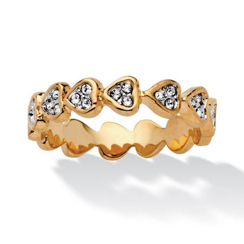 Round Crystal Yellow Gold-Plated Band of Hearts Ring Bold Fashion