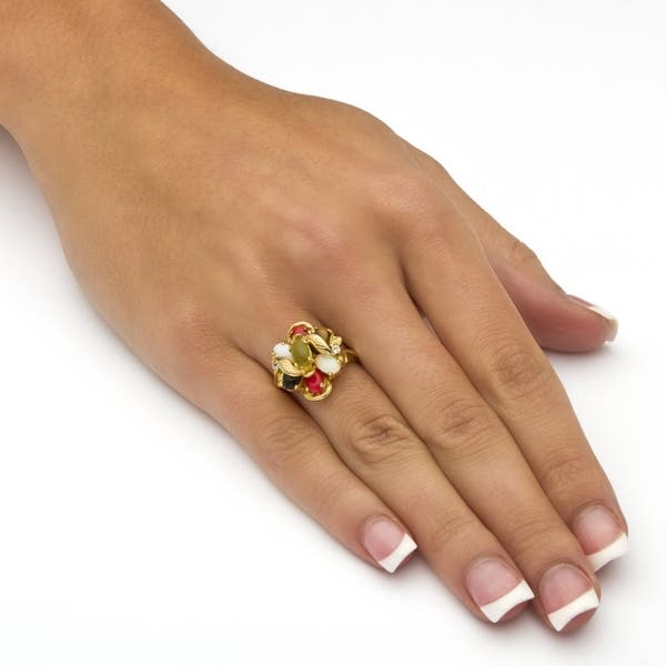 Shop 18K Gold-plated Jade, Coral and Opal Ring - Free