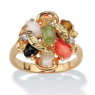 Oval-Shaped Coral, Opal, Jade, Onyx and Tiger's-Eye Cluster Ring 14k Gold-Plated Naturalis