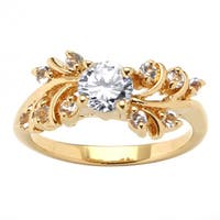18K Yellow Gold-plated Cubic Zirconia and Crystal Engagement Ring - White