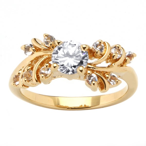 .80 TCW Round Cubic Zirconia and Crystal Ring in 14k Gold-Plated Classic CZ