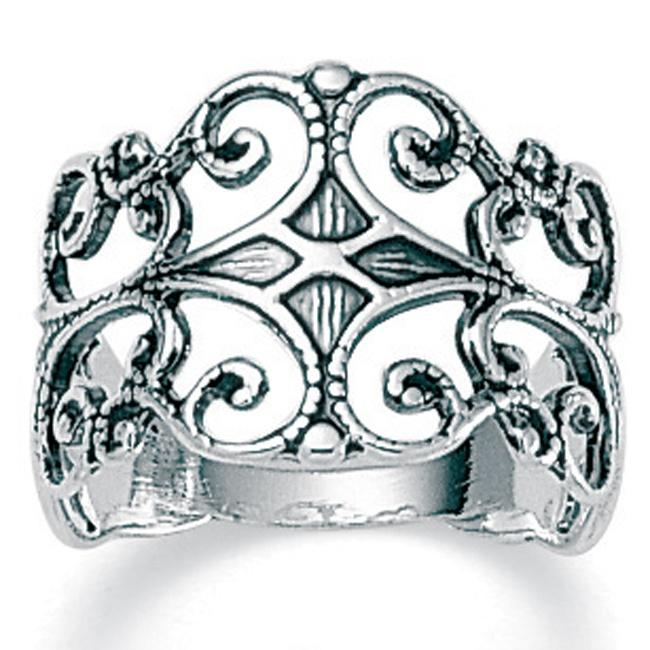Sterling Silver Antique-Finish Filigree Band Ring Tailored