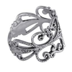 Sterling Silver Antique-Finish Filigree Band Ring Tailored - Thumbnail 1