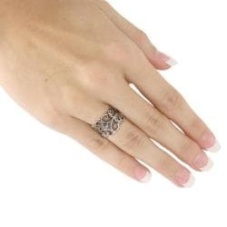 Sterling Silver Antique-Finish Filigree Band Ring Tailored - Thumbnail 2