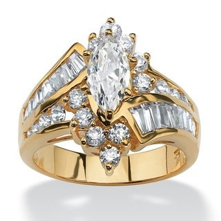 3.20 TCW Marquise-Cut Cubic Zirconia Engagement Anniversary Ring in 18k Gold over Sterling