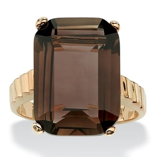PalmBeach 10.75 TCW Emerald-Cut Smoky Quartz Ring in 14k Gold-Plated
