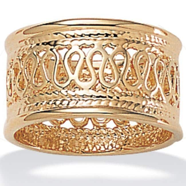 PalmBeach 14k Gold-Plated Tailored Open Weave Decorative Ring - Thumbnail 0