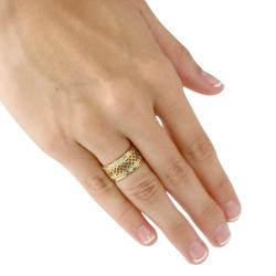 PalmBeach 14k Gold-Plated Tailored Open Weave Decorative Ring - Thumbnail 2