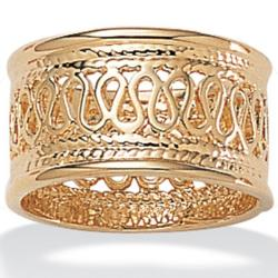 14k Gold-Plated Tailored Open Weave Decorative Ring
