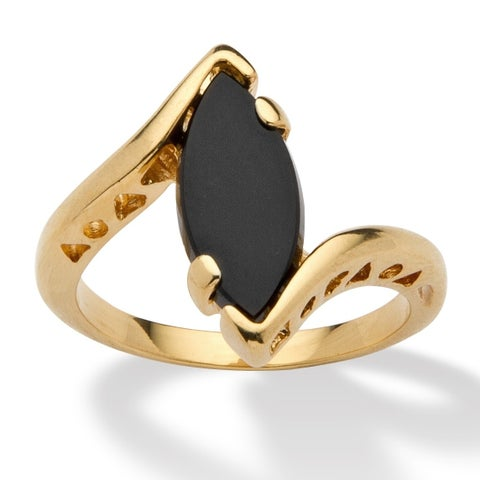 Yellow Gold-Plated Natural Black Onyx Ring