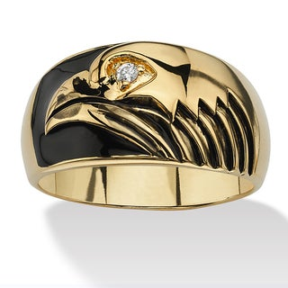 PalmBeach Men's Round Cubic Zirconia Accent 14k Yellow Gold-Plated Black Enamel-Finish American Eagle Ring