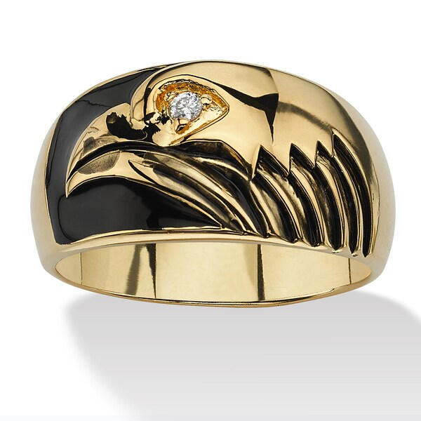 Men's Round Cubic Zirconia Accent 14k Yellow Gold-Plated Black Enamel-Finish American Eagl
