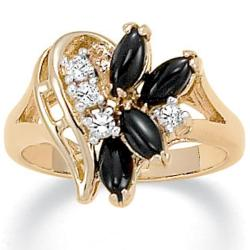 PalmBeach Marquise-Shaped Onyx and Crystal Swirl Ring in 14k Gold-Plated Naturalist