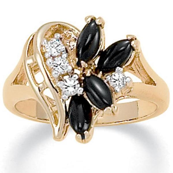 Marquise-Shaped Onyx and Crystal Swirl Ring in 14k Gold-Plated Naturalist