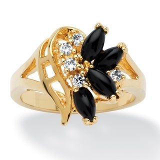 14K Yellow Gold-plated Natural Black Onyx and Round Crystal Ring