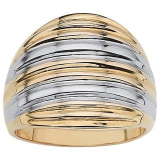 18k Gold over Sterling Silver Two-Tone Dome Ring Tailored|https://ak1.ostkcdn.com/images/products/6189028/P13839965.jpg?impolicy=medium