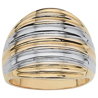 18k Gold over Sterling Silver Two-Tone Dome Ring Tailored