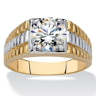 Men's Yellow Gold-Plated Cubic Zirconia Two Tone Ring
