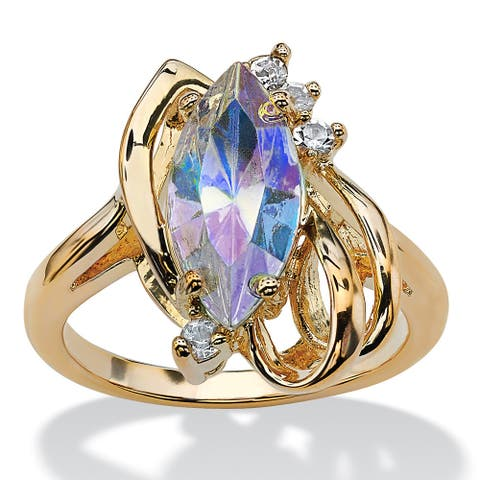 Marquise-Cut Aurora Borealis Crystal Cocktail Ring in Gold-Plated Color Fun