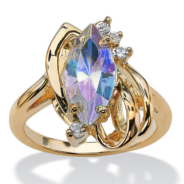 PalmBeach Marquise-Cut Aurora Borealis Crystal Cocktail Ring in 14k Gold-Plated Color Fun