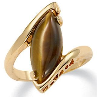Yellow Gold-Plated Genuine Brown Tiger's Eye Ring