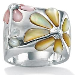 PalmBeach Multicolor Mother-Of-Pearl Sterling Silver Daisy Ring Sizes 7-12 Naturalist
