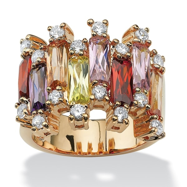 Yellow Gold-plated Multi-color Cubic Zirconia Ring - Green/Pink/Purple