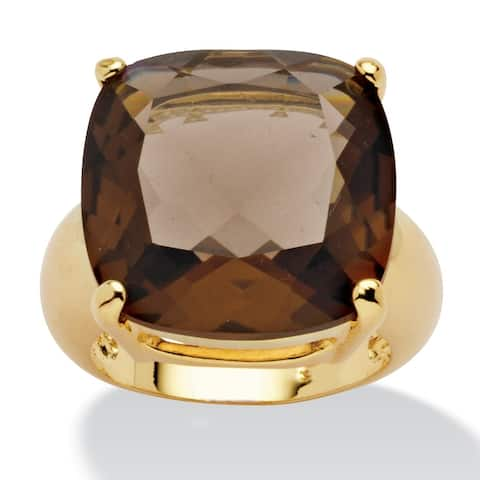 Yellow Gold-Plated Genuine Smoky Quartz Faceted Ring