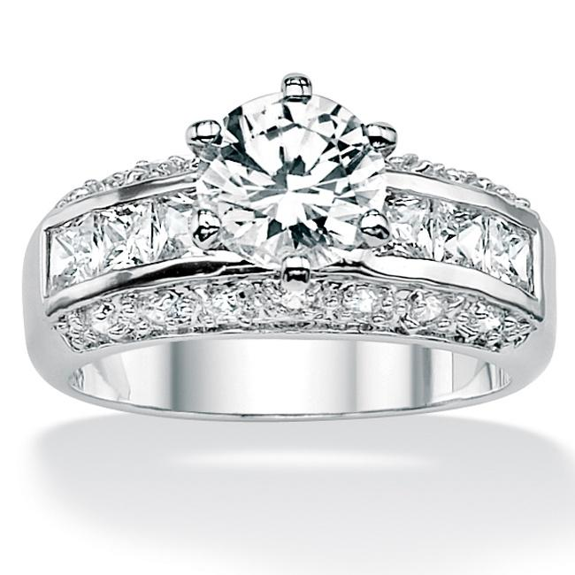 PalmBeach 2.99 TCW Round Cubic Zirconia Engagement Anniversary Ring in Platinum over Sterling Silver Classic CZ