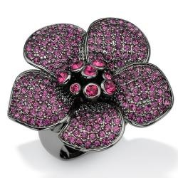 Lillith Star Black Ruthenium Purple Flower Ring