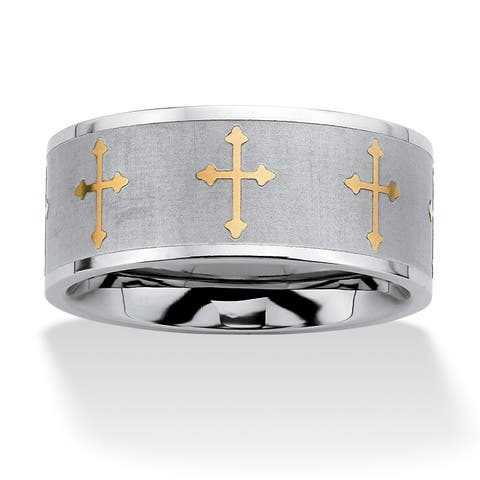 Cross Eternity Two-Tone Band in Stainless Steel and Gold Tone Sizes 6-16 Tailored