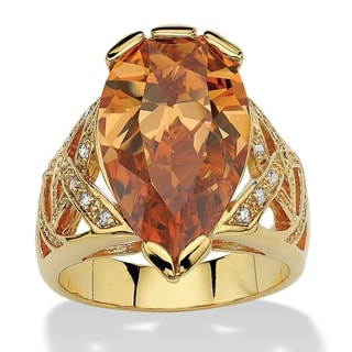 14.77 TCW Pear-Shaped Champagne-Colored Cubic Zirconia 18k Gold-Plated Ring Color Fun
