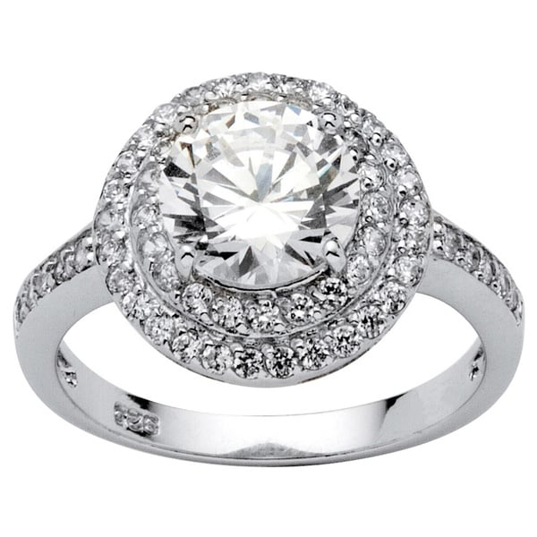 2.47 TCW Round Cubic Zirconia Platinum over Sterling Silver Engagement/Anniversary Ring Gl