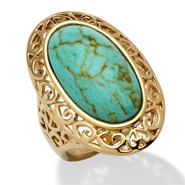 Oval-Shape Turquoise 18k Gold-Plated Filigree Ring Naturalist