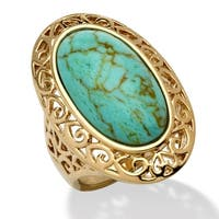 Yellow Gold-Plated Simulated Turquoise Bezel Set Filigree Ring