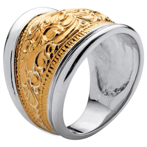 Sterling Silver Cubic Zirconia Gold Cigar Band Ring