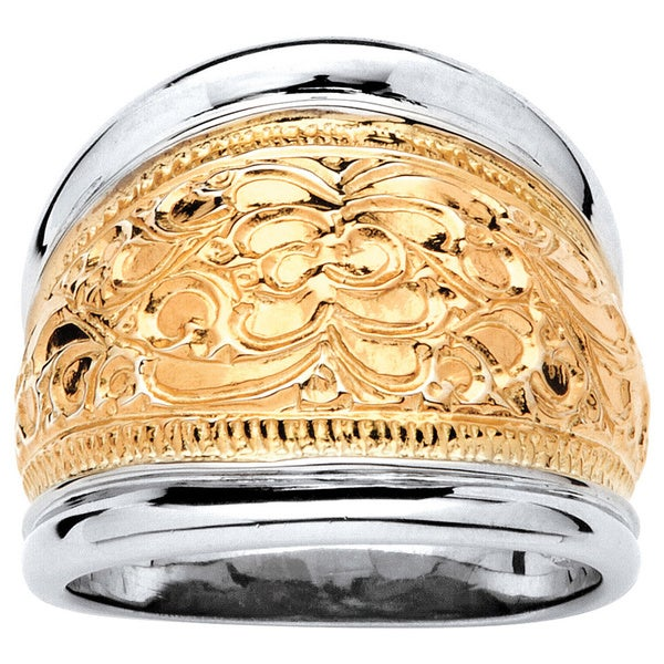 14k Yellow Gold-Plated Sterling Silver Two-Tone Scroll Motif Cigar Band Ring Tailored