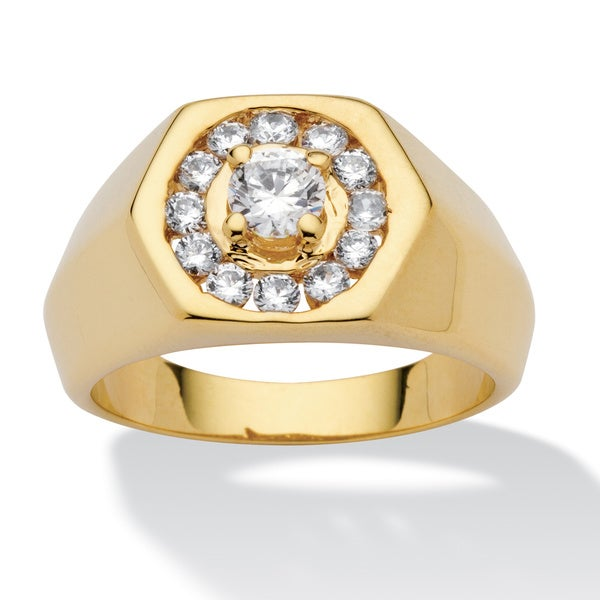 Men's .97 TCW Round Cubic Zirconia 14k Yellow Gold-Plated Hexagon-Shaped Ring