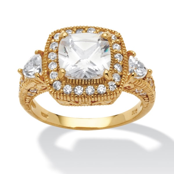 2.58 TCW Cushion-Cut and Trilliant-Cut Cubic Zirconia 18k Gold over Sterling Silver Ring G