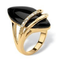 Marquise-Shaped Genuine Onyx With Cubic Zirconia Accents Gold-Plated Ring Naturalist