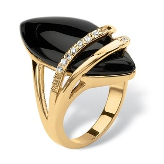 18K Yellow Gold-plated Black Onyx and Round Cubic Zirconia Ring