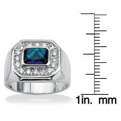 Men's .53 TCW Bezel-Set Blue Glass and Cubic Zirconia Octagon Ring in Silvertone Sizes 9-1 - Thumbnail 2
