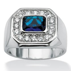Men's .53 TCW Bezel-Set Blue Glass and Cubic Zirconia Octagon Ring in Silvertone Sizes 9-1