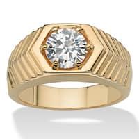 Men's 2.00 TCW Round Cubic Zirconia 14k Yellow Gold-Plated Chevron Ring