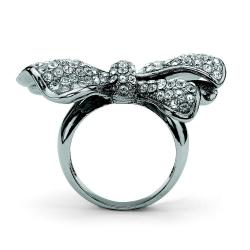 Lillith Star Black Ruthenium Plated Brass Ring with White Crystal Bow - Thumbnail 1
