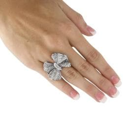Lillith Star Black Ruthenium Plated Brass Ring with White Crystal Bow - Thumbnail 2