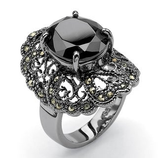 PalmBeach 8.21 TCW Oval-Cut Black Cubic Zirconia Black Genuine Marcasite Black Rhodium-Plated Filigree Ring Bold Fashion