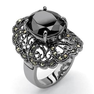 PalmBeach 8.21 TCW Oval-Cut Black Cubic Zirconia Black Genuine Marcasite Black Rhodium-Plated Filigree Ring Bold Fashion