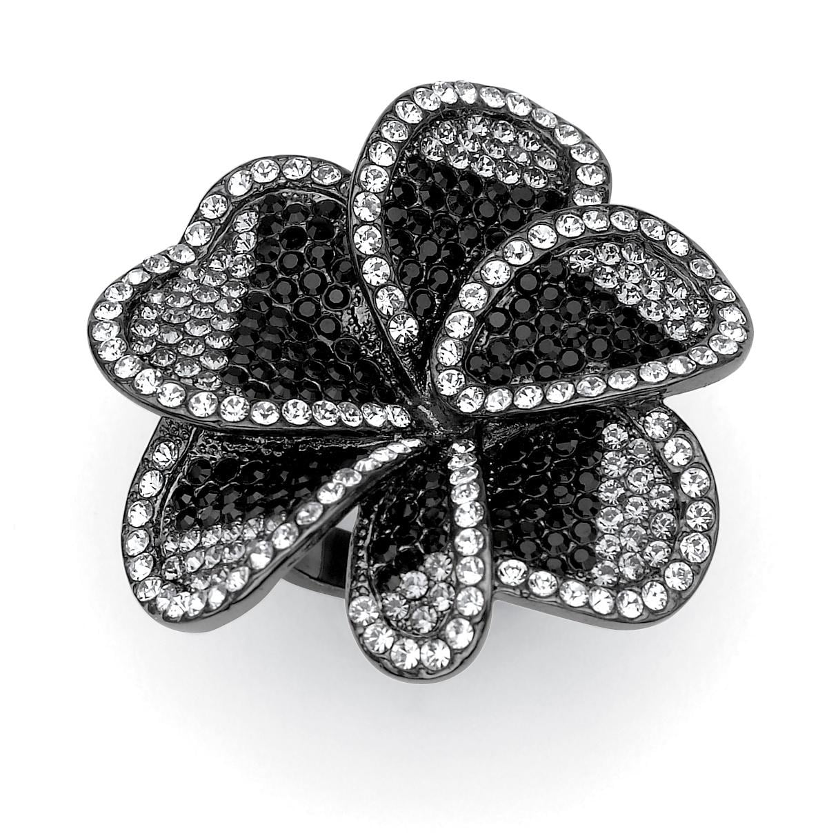 PalmBeach Black Ruthenium Crystal Flower Ring Bold Fashion